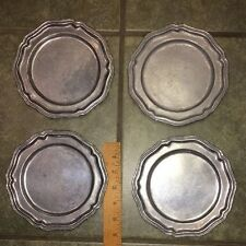 "SET OF 4 CROWN CASTLE LTD QUEEN ANNE PEWTER 6.5"" BREAD AND BUTTER PLATES USA"