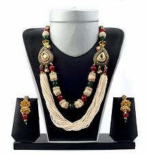 Bollywood Style Long Pearl Jewelry-Designer Paisley Long Pearl Necklace Set