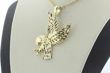 14K Yellow Gold Flying Vertical Landing Clawed Bald Eagle Charm Pendant