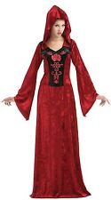 Ladies Long Red Druid Medieval Witch Halloween Fancy Dress Costume Outfit 10-14