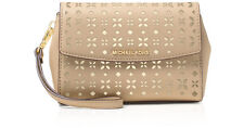 NWT $138 MICHAEL KORS Perforated Ava Medium Wristlet Clutch Bisque Beige Gold