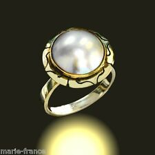 Lovely yellow gold 12mm mabe pearl ring size 6 rings M-F