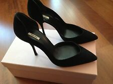 MIU MIU SEXY BLACK SUEDE PUMP POINTY TOE SEXY SHOE. WEAR FROM DAY TO EVENING!!