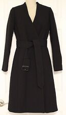 J Crew$398 Double Cloth Cool Collarless V-Neck Wrap Coat 0 c8577 Black Wool