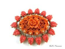 Vintage Coral & Orange Colored Carved Floral Celluloid Gold Tone Brooch