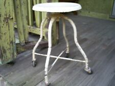 Vintage Industrial Metal & Cast Iron Stool Machine Age Chair Roller Wheels