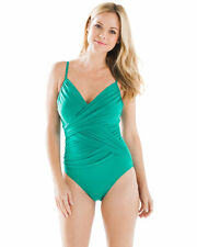 NEW MAGICSUIT by MIRACLESUIT HARPER WRAP EFFECT SLIMMING ONE PIECE SWIMSUIT - 10