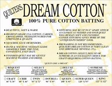 Quilters Dream Batting Natural Cotton Supreme~Heaviest Loft~Throw Size
