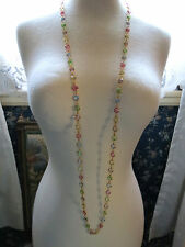 "VTG Bezel Set Pastel Crystal Necklace Gold Plated Links 48"" Long Barrel Catch"