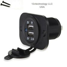 12V DC 3.1A Waterproof Dual Car USB Charger Socket w/ Panel Mounting Screws