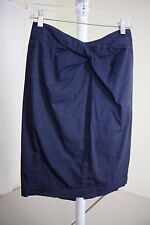 Michael Kors Cotton Blend Navy Gathered Below Knee Pencil Skirt Size - 6