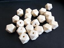 20pcs 16mm Wooden Geometric Wood Beads - Natural Unpainted Unfinished Polygon