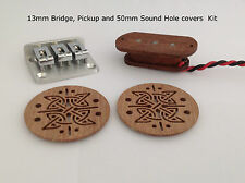 Cigar box guitar bridge, remise en mains propres et 2 sound hole cover kit (string espacements 13mm)
