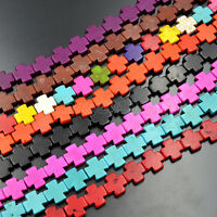 15mm  Howlite Turquoise Gemstone Side Ways Square Cross Spacer Beads 16'' Pick