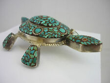 Stunning Rare Vintage Large Sterling Silver & Turquoise Mosaic Tortoise Statue