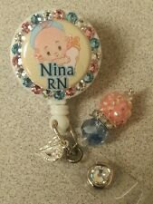 Personalized baby card reel/ id badge holder for nurses, teachers, etc...