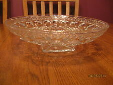 Vintage McKee Glass Co. Plymouth Thumbprint Clear Large Footed Bowl