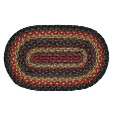 "Homespice Decor OKLAHOMA Braided Jute 20"" x 30"" Rug Black, Red, Green, Mustard"