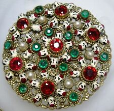 AUSTRO HUNGARIAN / CZECH Bezel Set Ruby & Emerald Glass Pearl Enamel Brooch