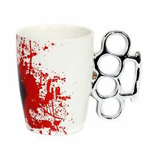 Knuckle Duster White & Blood Coffee Mug Halloween joke gift secret Santa 78/8105