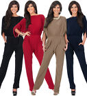 NEW Womens Classy Cocktail Batwing Sleeve Jumpsuit Plus Size S M L XL 2X