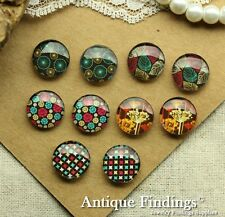 10PCS 12mm Handmade Mix Design Glass Dome Cabochon Cameo Cabs MCH014S