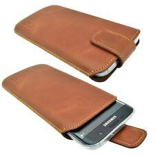 Echt Leder Handytasche Tasche Schutzhülle Bag Cognac für Samsung Galaxy S7 Edge