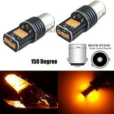 2pcs Error Free Amber Samsung 15-SMD BAU15S 7507 LED Bulb For Turn Signal Lights