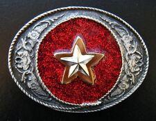 COWBOY COWGIRL SHERIFF STAR WESTERN RED GLITTER BELT BUCKLE BOUCLE DE CEINTURE