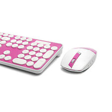 PINK Rounded Retro Key Wireless 2.4GHz Keyboard and Mouse For Computer & Laptop