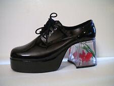 Black Platform 70s Pimp Disco Mens Costume Shoes Clear Fish size 9 10 11 12 13