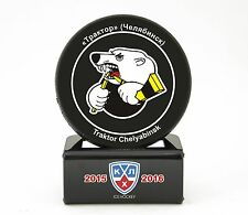KHL Official Hockey Puck with holder.Traktor Chelyabinsk