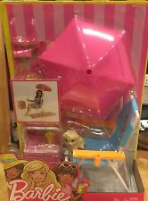 Barbie Beach Gear Chair with Umbrella Cooler Drink Towel Glasses Lotion NEW