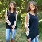 Fashion Women Ladies Sexy Long Sleeve Shirt Loose Casual Lace Blouse Top T Shirt