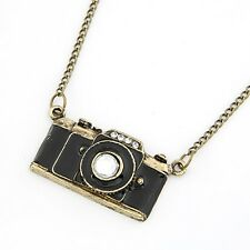 Fashion Jewelry Vintage Camera Necklace Pendant Hot Sale Enamel Black Color