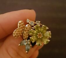 14k gold russian vintage ring. aquamarine, citrine and peridot. UK Size L1/2.