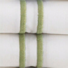 Sferra Grande Hotel King Sheet Set w/ King Cases. White with Green Embroidery