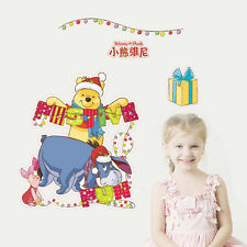 Winnie The Pooh Wall Sticker Xmas Nursery Decor kids baby Room Mural PVC Decals