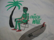 "Vans ""The Endless Wait"" Skeleton Skateboard Surfboard White Men's T Shirt L"