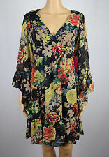 Betsey Johnson Womens Black Floral Print V-Neck Ruffle Trim Dress 4