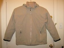 Mens Lands End Coat Jacket Sz L 42-44 Hooded Khaki Winter Ski Work Church School