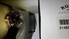 ROTARY Swiss Real Leather Watch. Crystals. Rose Gold & Maroon Wine Red. Buy New