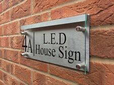 MODERN HOUSE SIGN PLAQUE DOOR NUMBER STREET GLASS ACRYLIC ALUMINIUM LIGHT HOLDER