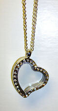 cz living glass silver floating locket heart necklace, add charms, beads & more