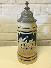 Vtg Possibly Antique Steuler & Co German Ceramic Liter Beer Stein Drinking Scene