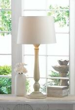 distressed WHITE desk bedside candlestick end Table Lamp night light & shade