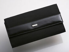 G0707 Authentic CELINE Cloth & Leather Trifold Long Wallet