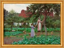 September Edmund Blair Leighton Garten Obstbäume Äpfel Beete Ernte B A3 01471