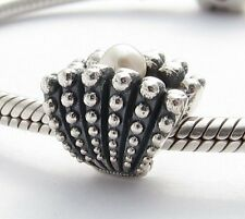 NATURAL WHITE PEARL CHARM Bead Sterling Silver.925 For European Bracelet 620