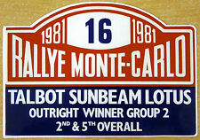 1981 Monte Carlo Rally Talbot Sunbeam Lotus / Motorsport Sticker Decal